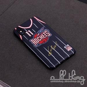 「NBA」ヒューストン ロケッツ 1995-03シーズン 復刻ジャージ アキームオラジュワン ヤオミン サイン入り iPhoneXS iPhone8 ケース