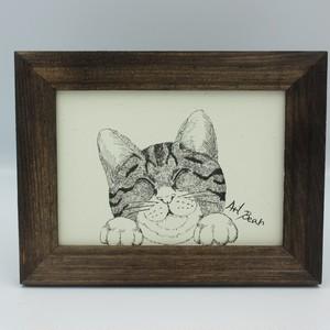 ネコ イラスト 1匹笑ってます アート プリント 送料無料