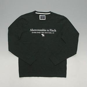 Abercrombie&Fitch アバクロンビー&フィッチ 刺繍クラシックロゴ 薄手スウェット 厚手ロンT ダークグリーン