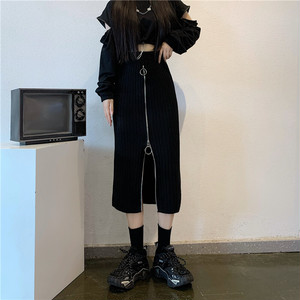 リングジッパー・ハイウエストニットスカート