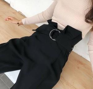 ズボン ワイドパンツ トレンド 秋 オータム おしゃれ 体型カバー ベルト シンプル 無地 黒 黒ズボン i567