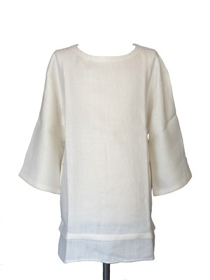 RINEN SIDE BOTTON SHIRTS -WHITE-