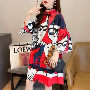 ファッションゆったりロング丈カートゥーンTシャツ<ins-1596>