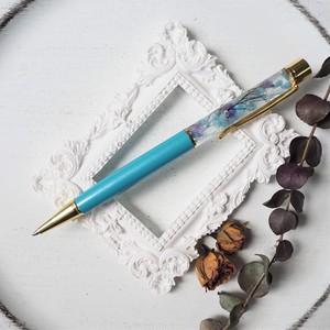 【アクリルケース付き】09ハーバリウムボールペン【Skyblue & Purple】(泉の水の色・たゆたう海月)