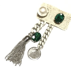 【 UNSEABLE 】chain tassel earrings Green
