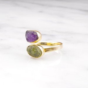 DOUBLE DIFFERENT STONE OPEN RING 007
