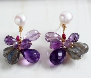 紫アメジストとパールのイヤージャケット・ピアス