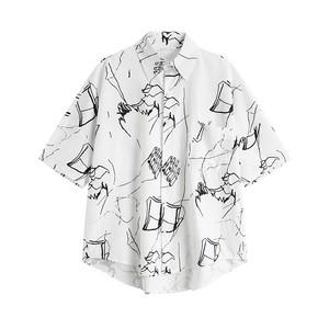 手描き柄プリントシャツ   1-144