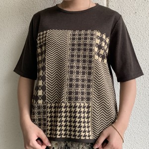 (LOOK) houndstooth pattern knit tee