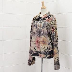 90年代 USA製 アートプリント 総柄 ジャケット ヴィンテージ アメリカ古着 レディース L   90's Usa Vintage Art Spain Painting Jackets