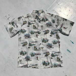 90's reyn spooner 雪山柄  プルオーバーBDシャツ 1991年 クリスマス限定 レア柄 アロハシャツ L 希少 ヴィンテージ