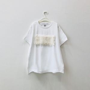 【キッズSサイズ】ビッグシルエットTシャツ(もこもこ)White×フェイクファー