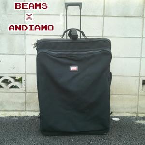 【USA製】ビームスBEAMS×アンディアモANDIAMO/特大/旅行/ヴァロロッソ/VALOROSO/赤窓/Bomb cloth/バリスティックナイロン/キャリーバッグ/黒/