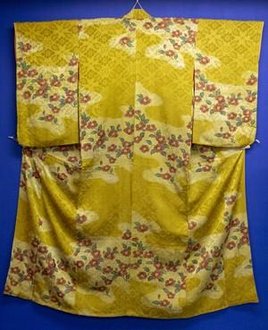 黄色 椿 小紋