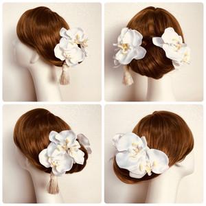 白無垢に♡純白の胡蝶蘭とタッセルの和装髪飾り(6点セット)