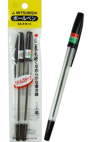 【まとめ買い=10個単位】でご注文下さい!(32-509)三菱 キャップ式ボールペン(黒)2本入  定価140円の品