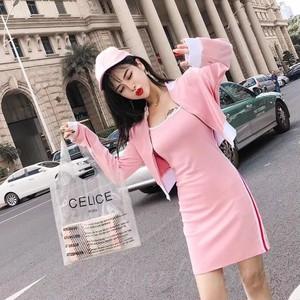 【セット】ファッション長袖ラウンドネックジッパーショート丈ジャケット+キャミワンピース33131943