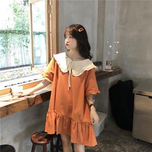 【ワンピース】韓国風ルーズスウィートAライン短袖ショートワンピース