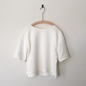 【 miho umezawa 】COTTON DOUBLE CLOTH half sleeve T blouse