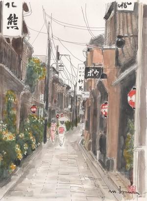 「水彩画ミニアート」京都 祇園 日傘の舞妓さん