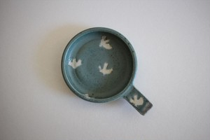 原田晴子|Dip Dish 水色地白鳥