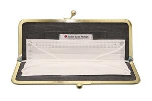 Atelier Kyoto Nishijin/撥水加工・西陣織シルク・抗菌・抗ウイルス・がまぐちマスクケース・千鳥格子・日本製