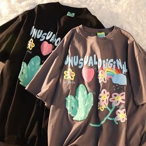 カジュアル ゆったり ラウンドネック 半袖 ハナ 可愛い 人気 Tシャツ・トップス