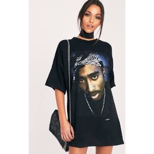 "PRETTY LITTLE THING ""2PAC PORTRAIT BLACK T SHIRT DRESS"