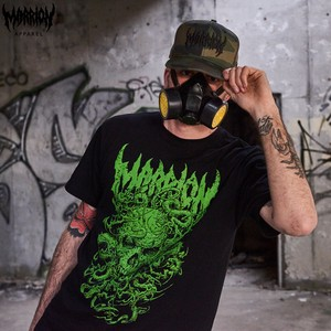【Cotton100%】ahot×marrionapparel「SKULL TENTACLE」 TEE (Black×Green)