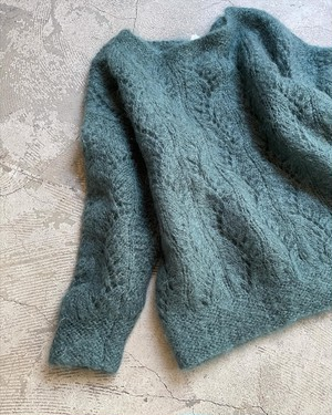 vintage mohair handknit - turquoise -