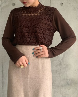 (PAL) lace high neck tops