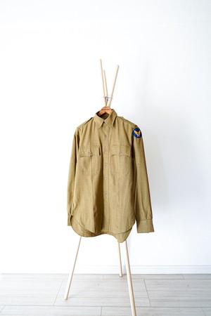 "【1930-40s】""R.O.T.C"" US ARMY Wool Officer Shirts / v353"
