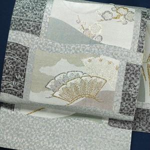 モダン植物文様 正絹袋帯【0996】
