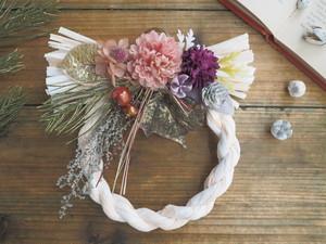 Bonne Année <antique pink>* お正月*しめ縄飾り*しめ縄リース*アーティフィシャルフラワー*プリザーブドフラワー*ギフト
