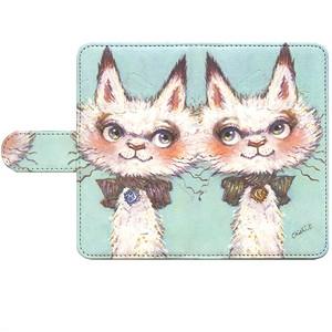 手帳型 スマホケース(L)ネコ双子