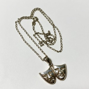 925 Silver Comedy & Tragedy Face Pendant Necklace