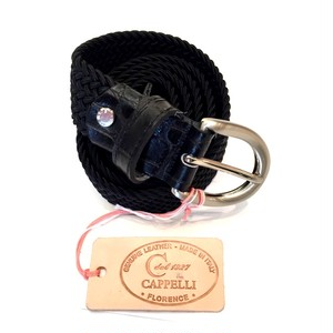 30MM SOLID ELASTIC MESH BELT BLACK(COCOJEAN LEATHER)