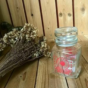 ≫70'sヴィンテージ*昭和レトロポップな古いガラス瓶H17cm*フラワー花柄*古硝子*キッチン保存容器*ビンテージ*アンティーク*オールド昔