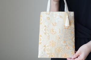 【本金箔 華紋 やまと シルク帯 ミニサブバック フォーマルバック】日常使い、結婚式、パーティーに。