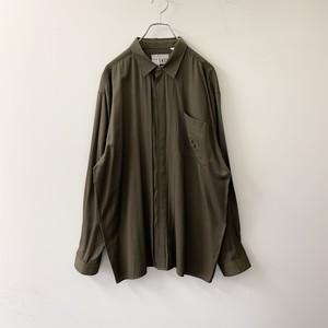 PRONTI ドレスシャツ レーヨン/ポリエステル カーキ size L メンズ 古着