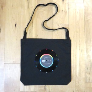 本物のレコードを使ったショルダーバッグ 斜め掛けバッグ「bagu」ブラック ST001-B008