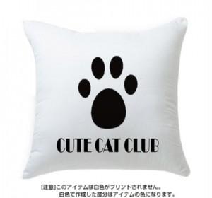 CUTE CAT CLUB クッション(ホワイト毛×ブラック)