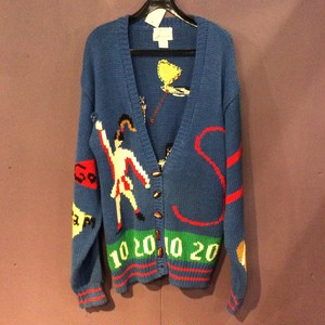 80's blue rugby design knit cardigan [B1252]