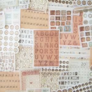 BINGO風 シール 海外 60枚入 フレークシール レトロ 素材 コラージュ ジャンクジャーナル 手帳 日記 装飾 A25C