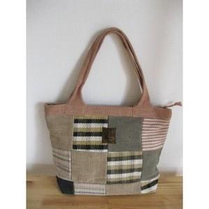 <フェアトレード>パッチワーク トートバッグ  草木染め Dタイプ 手織り ネパール WSDO バッグ