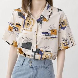 【トップス】ファッションプリント個性派ゆるリラックスシャツ43754543