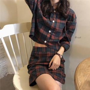 レトロデザインチェックシャツ+スカート