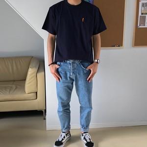 ワンポイントTシャツ ネイビー×オレンジ