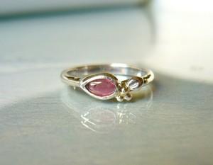 ピンクトルマリンと木の実の指輪