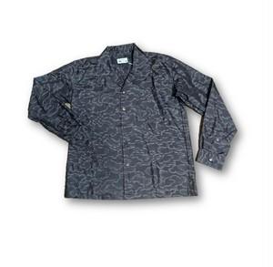 3 大島紬リメイク メンズ長袖シャツ(こげ茶雲柄・M)